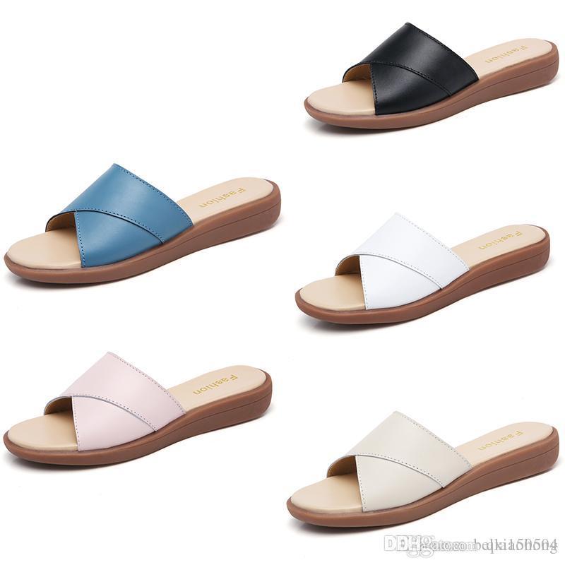 hot brand women Beach Slide Sandals Scuffs Slippers Ladies white black blue Beach Fashion slip-on Luxury designer sandals Flip Flops