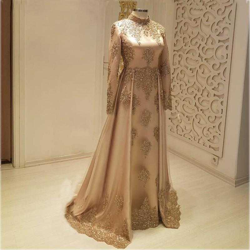 2020 Plus Size Ball Gown Long Muslim Arabic Gold Evening Prom Dresses Gowns Sexy Elegant Woman Formal Party Dress