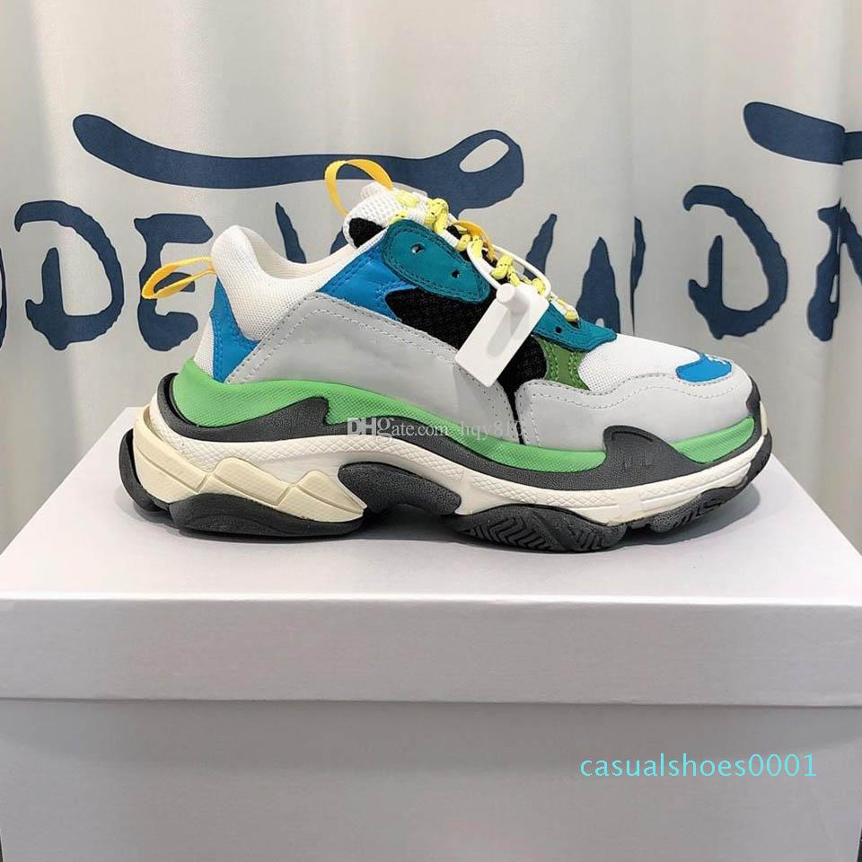 Triple S yeşil ayakkabı moda kadın erkek ayakkabıları Yeni tasarım ayakkabı Lüks moda markası ayakkabı boyutu 35-45 modeli 01C
