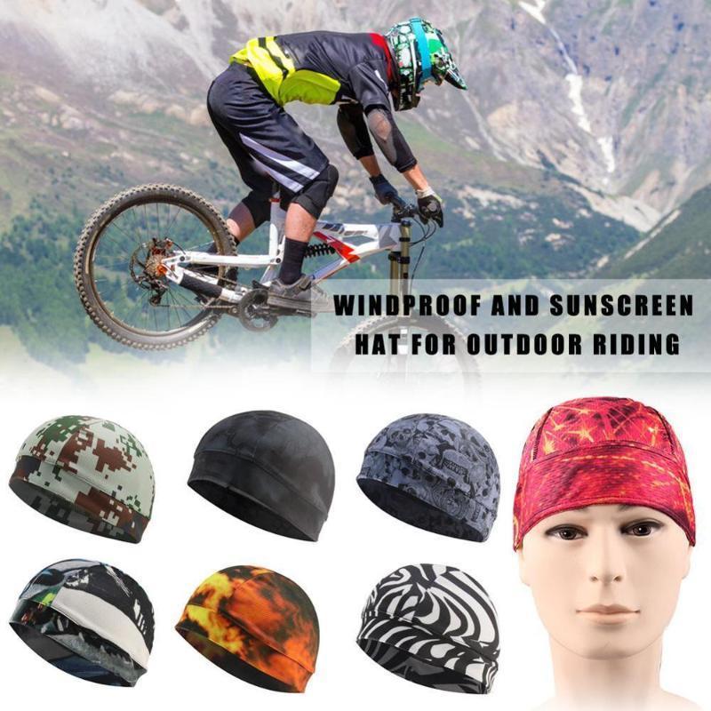 Breve Mens asciugatura Cappello ciclismo Calotta Moto Sotto casco di guida protezione esterna Sport Ciclismo Bicicletta Skull Attrezzatura Hat