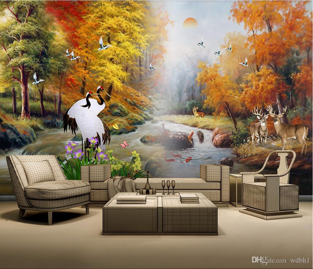 3D 벽지 사용자 지정 사진 벽화 프리 새로운 중국 스타일 물 풍부한 황금 숲 풍경 배경 벽화 벽화 3 d