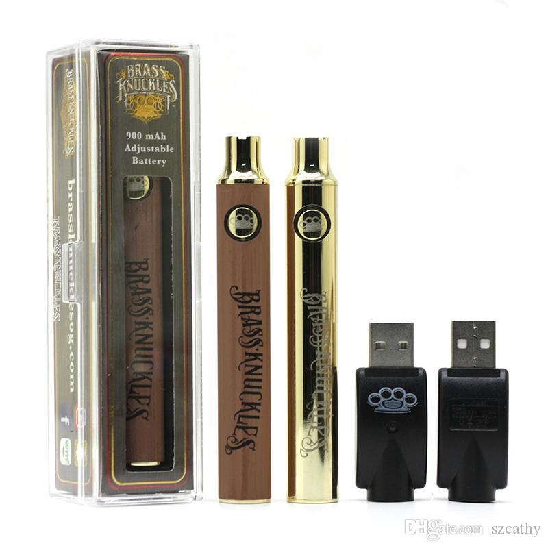 BK bateria Juntas de bronze da bateria E Cigarette Vape Pen 900mAh Baterias de ouro de madeira Baterias SS Pré-aqueça o VV Para Thick Oil Cartuchos