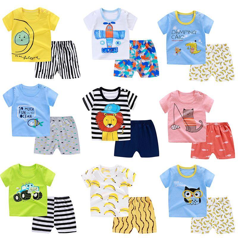 0-4 anos de meninas Roupa 2020 Summer Fashion Estilo Meninos Meninas Vestuário Define T-shirt e ternos curtos 2pcs crianças roupas