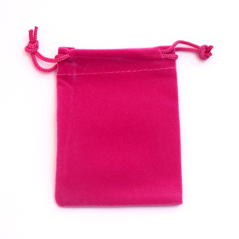 Wholesale 50pcs/lot 7x9cm Hot Pink Velvet Jewelry Bag Favor Charms Jewelry Packaging Bags Small Velvet Drawstring Pouch Gift Bag