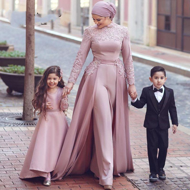 Abiti da sera musulmani rosa scuro Abiti da sera maniche lunghe tuta rimovibile sciarpa islamica Dubai saudita Arabo Abiti da sera Abito da passeggio
