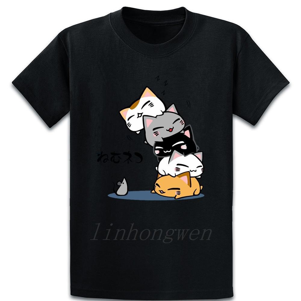 Neko Uh Oh Chat mignon T-shirt à manches courtes Casual Design Été Kawaii Lumière du soleil Col rond base solide shirt
