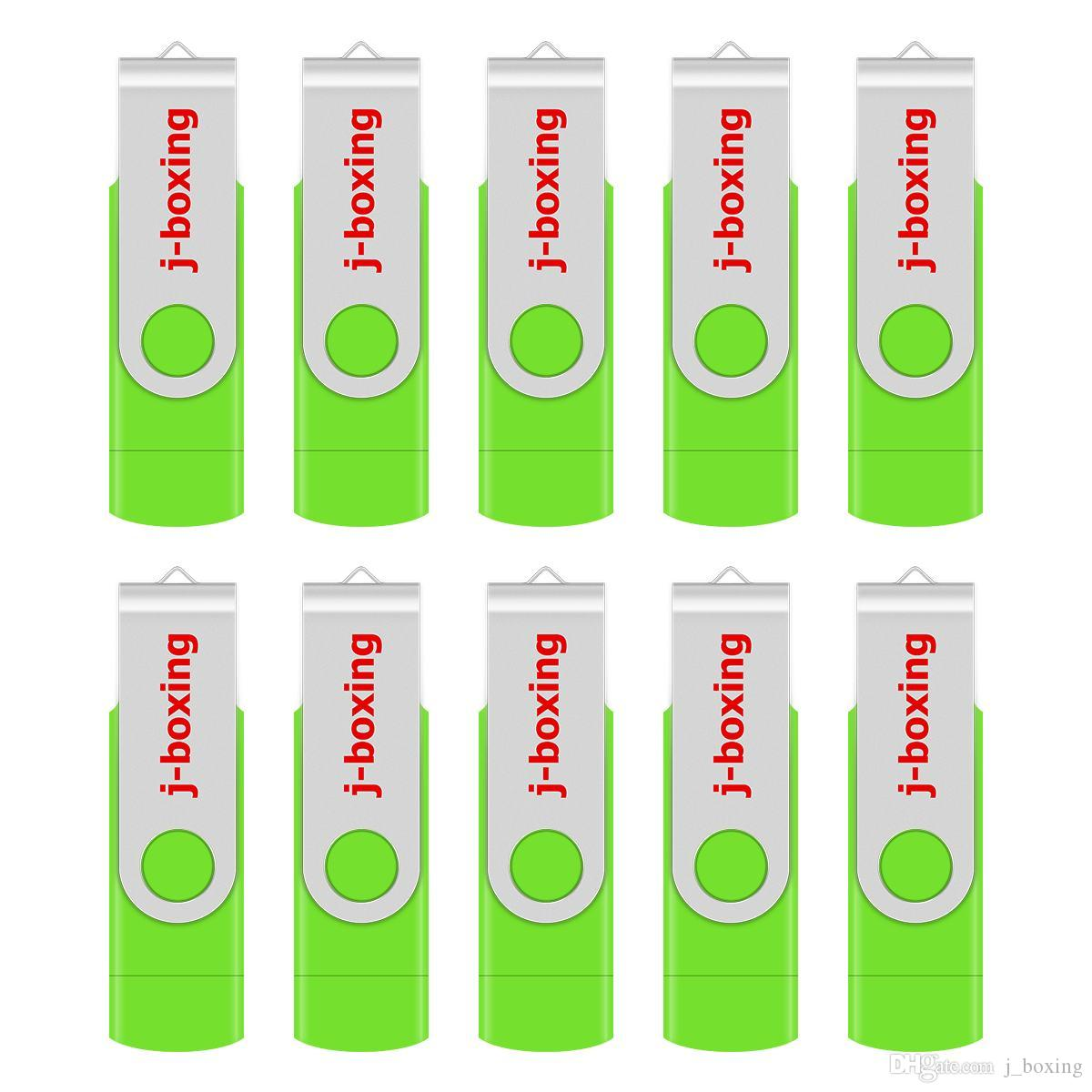 Green 10 Pack 32GB OTG USB 2.0 Flash Drive Folding Dual USB Memory Stick Thumb Pen Drive Storage for Computer Android Smartphone Tablet