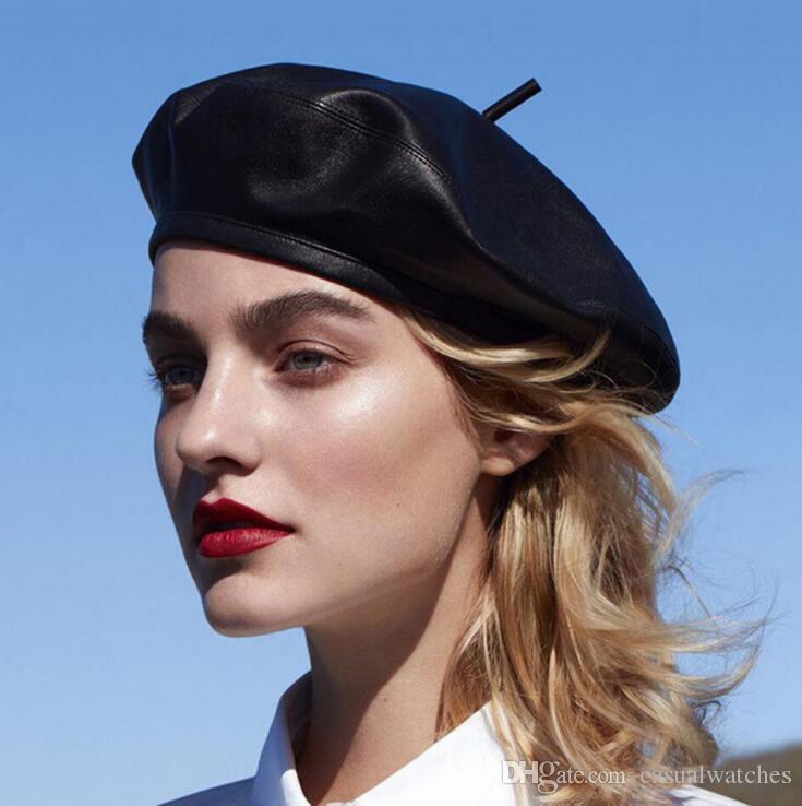 Европейская и американская мода Берет из мягкой кожи Мода Берет Тыква Арт Ретро темперамент Элегантный женский берет