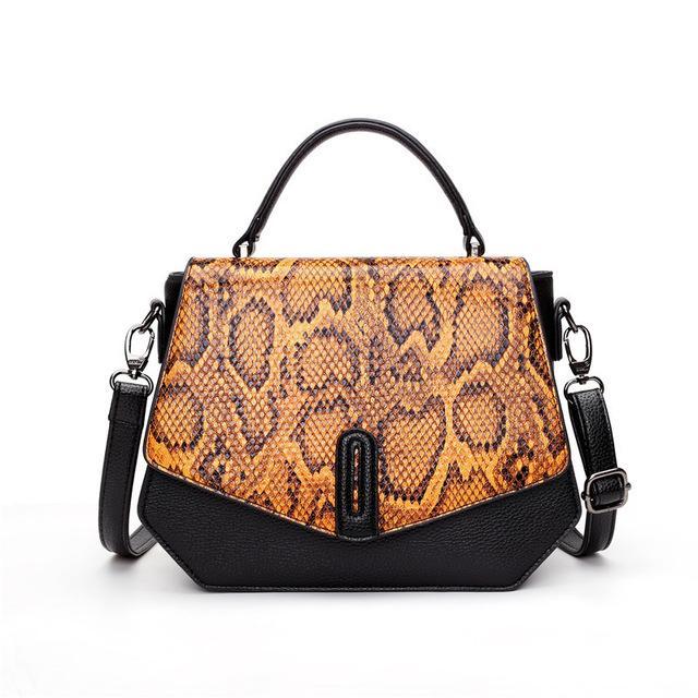 Высокое качество Кожа PU Элегантная сумка Женщины Женщины путешествия Tote плеча серпантин шаблон моды сумки Главная Femme Сумки