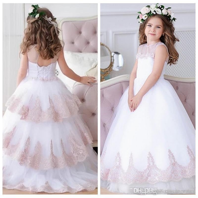 Elegante Sheer O-Pescoço Meninas Vestido De Noiva Pincess Pageant Rendas De Casamento Apliques De Festa De Vestido Crianças Prom Vestido Crianças Vestido Custom Made