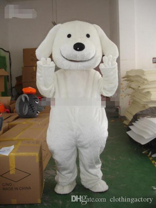Горячие продажи Профессиональный Новый Белый Щенок Собака Костюм Талисмана Взрослый Размер EMS бесплатная доставка