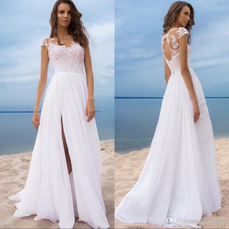 Discount Sexy Split Boho Wedding Dresses 2019 Sheer Jewel Neck Appliqued Keyhole Backless Long Bridal Gowns For Summer Beach Weddings Wedding Dresses