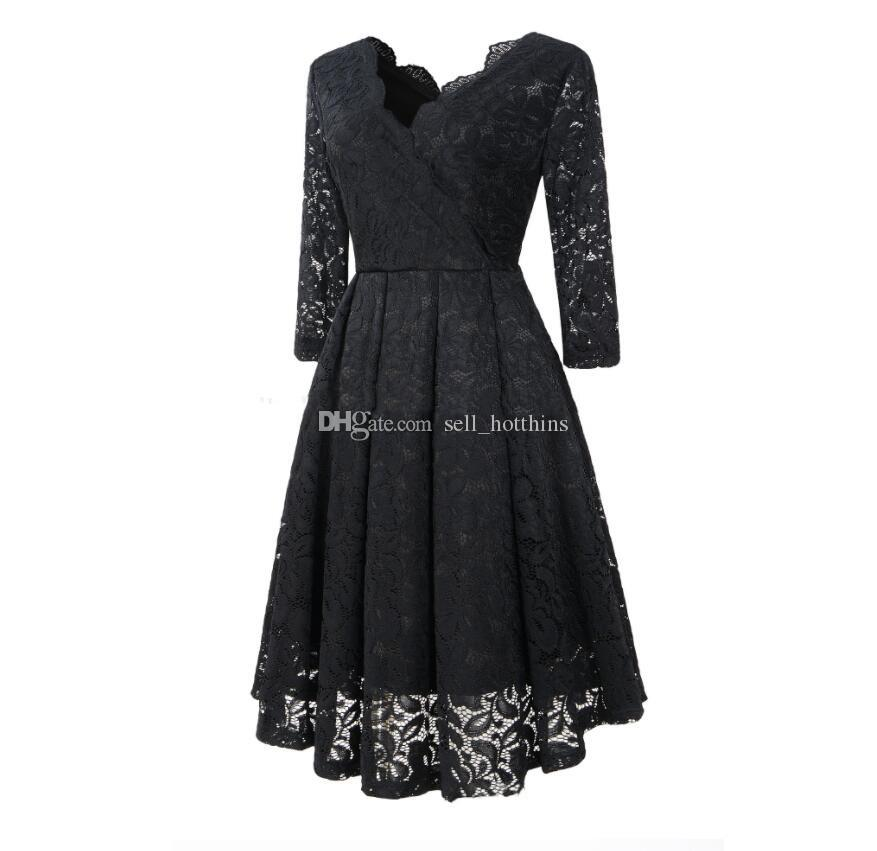 Female Spring and Autumn Dress Fashion Lace Cross Sexy Double V-collar Soft Fabric Lace Dress Color; Wine Red, Purple, Green, Sapphire Blue,