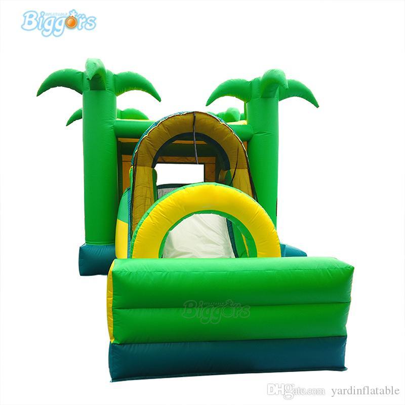 Palmeira, animal, tema, tema, crianças, trampoline, inflável, adulto, miúdos, casa, casa, ar, castelo, pular, corrediça, combo