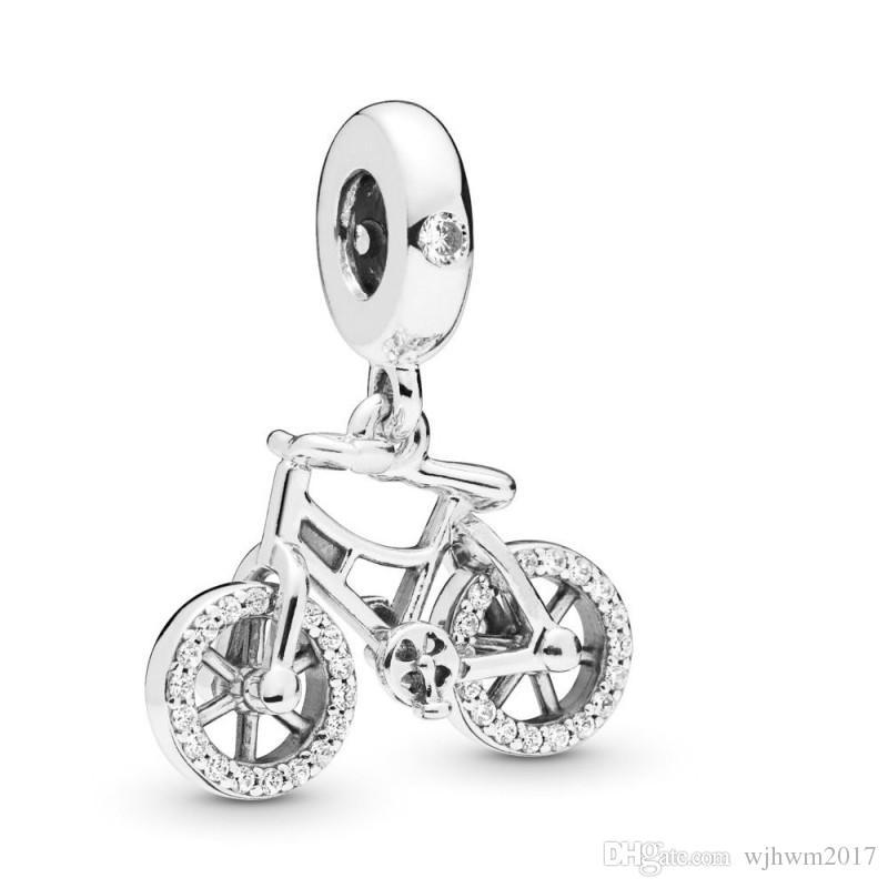 Nueva bicicleta brillante de plata esterlina de plata de ley 925 con cristal cuelgante encanto colgante bead ajuste encanto pulsera bricolaje joyería de moda