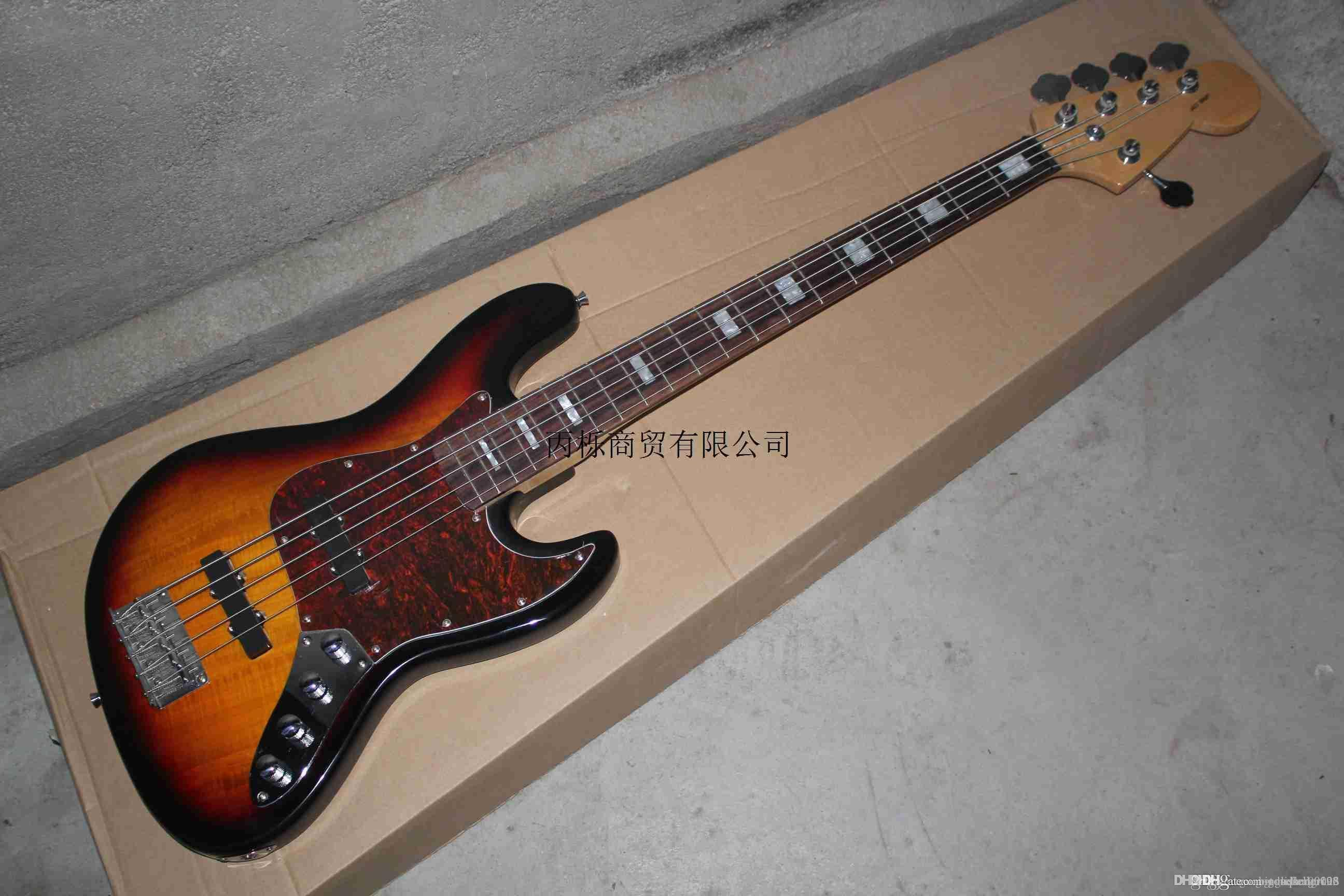 Free Shipping High Quality F Jazz Bass 5 String Sunburst Rosewood Fingerboard Active Pickups 9V Battery electric Bass Guitar In Stock