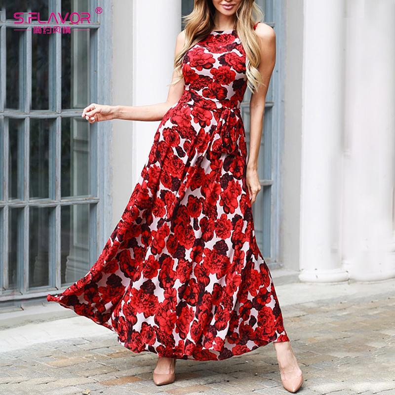 S.FLAVOR New Ärmel Maxi lange Kleid Frauen-Weinlese-Blumendruck Boho Kleid ohne Taschen 2020 Frühling-Sommer-Strand-Kleides