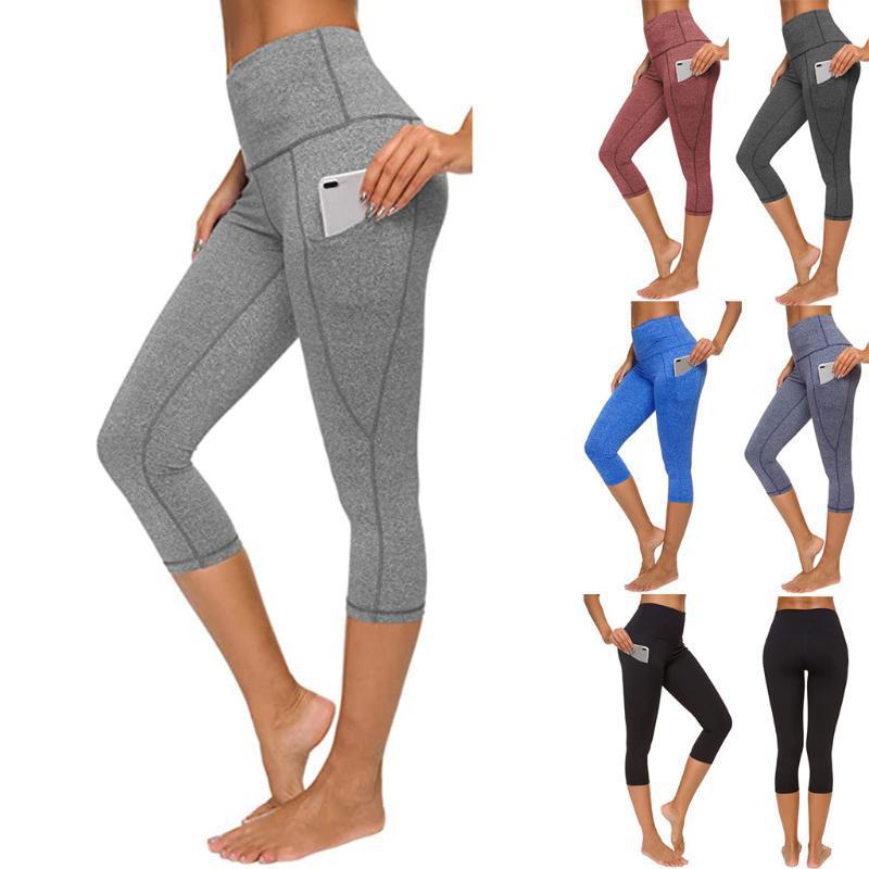de mulheres apertado Elastic Quick Dry cor sólida bolso Capris Seamless Yoga Pants Leggings corredor da ginástica Casual Desportivo Legging