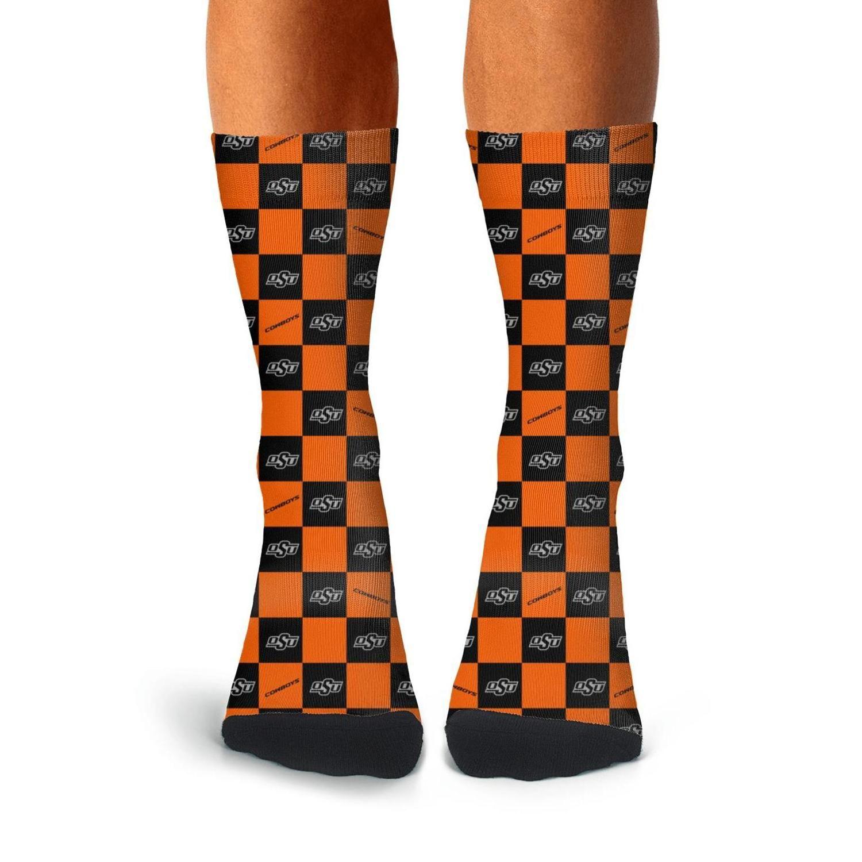 Homem Oklahoma State Cowboys Malha Laranja Socks Tripulação Cotton personalizado leve corrente de luxo Fun Football Black White Brown Arco-íris Red