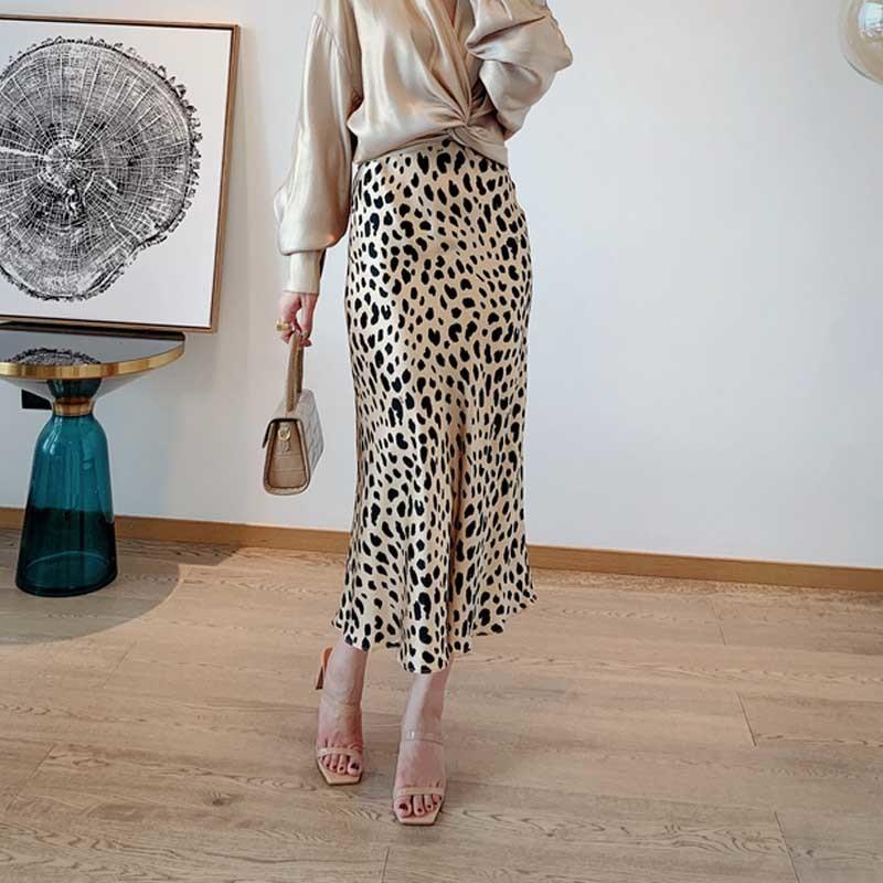 Saias Midi deslizamento de cetim de seda do leopardo deslizamento cintura elástica saia de Midi T200324