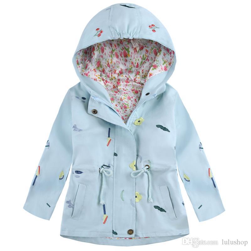 2018 Yeni Bahar Sonbahar Kız WINDBREAKER Coat Bebek Çocuk Çiçek Nakış Kapşonlu Dış Giyim Bebek Çocuk Palto Ceket Giyim
