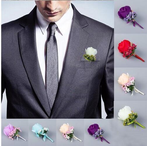 Hochzeit künstliche Rose Blume Brosche Bouquet Corsage Glitter Strass Ribbon Lace Classic Prom Boutonniere GB292