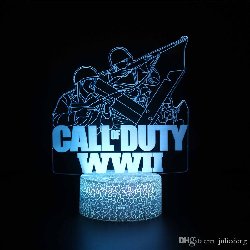 Second World War Night Light - 3D Illusion Lamp Three Pattern and 7 Color Change Decor Lamp with Remote Control for Kids Gifts for Boys