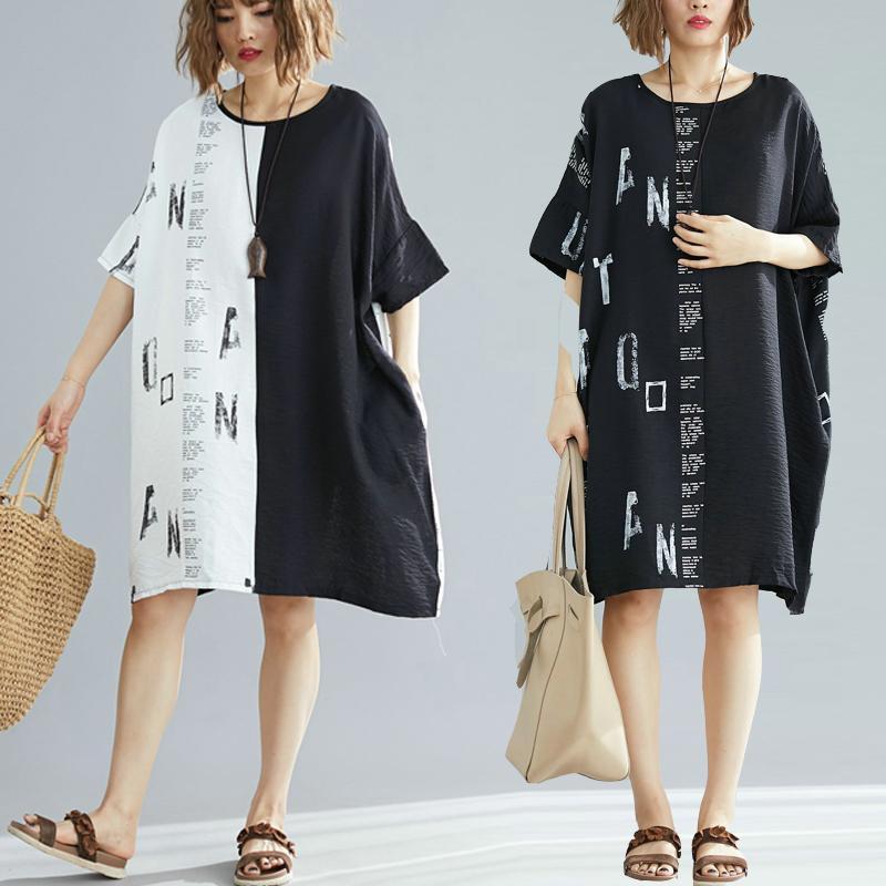 Cotton Linen Series# Summer Dress Women Plus Size Patchwork Female Vintage Oversized Patchwork Casual Long Dress 9109