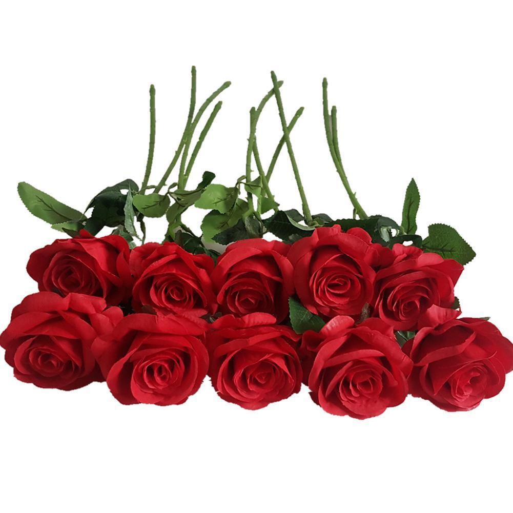 10 шт Искусственные розы День Главная Декоративные цветы ППЭ Искусственная роза Цветы на свадьбу Валентина украшения