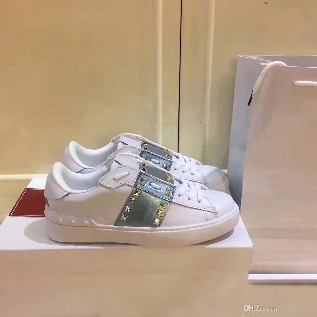 Valentino Klassische Sportschuhe männliche Frau Plattform Riveted Weißen Schuhe im Frühjahr und Herbst von Luxus-Designer-Leder-flacher soled beiläufige xshfbcl