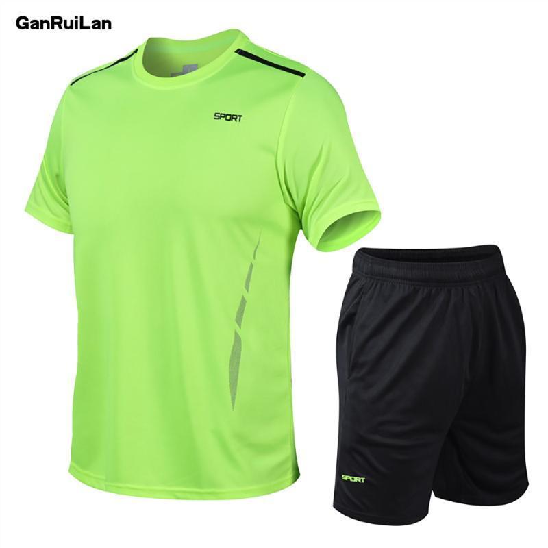 2020 летний костюм мужская мода мужские наборы фитнес-костюм быстросохнущие шорты с короткими рукавами спортивный костюм O-образным вырезом Solid Sportswear B0568