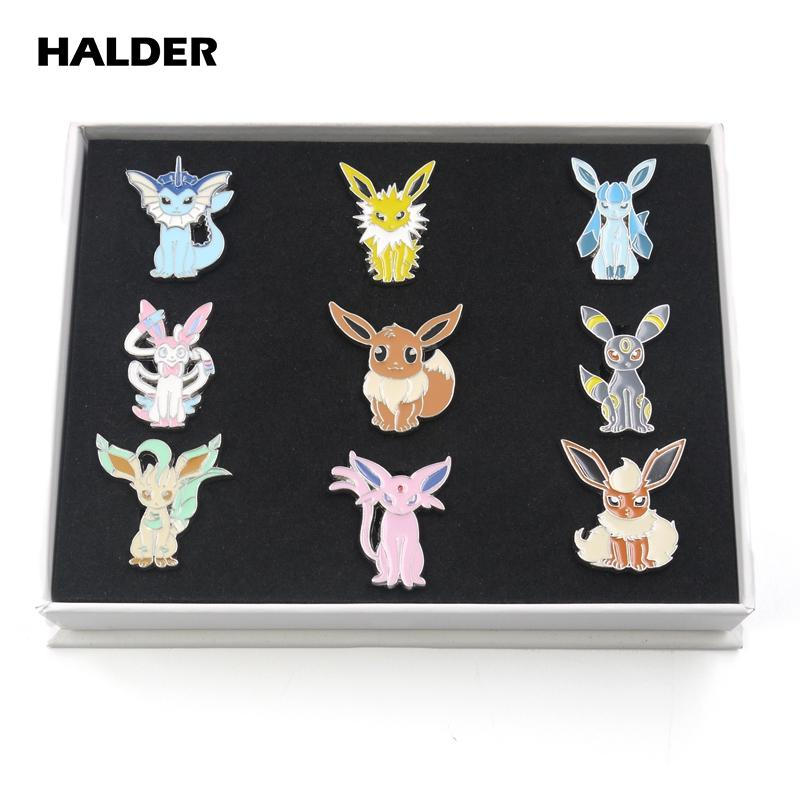 HALDER Anime Pocket Monsters Eevee Famiglia del fumetto della scatola di Cosplay dello smalto Spille risvolto borse zaino 9pcs Badge Pins regalo