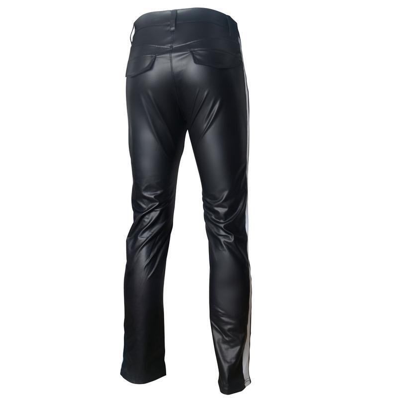 Erkek Pantolon PU Deri Çizgili Yan Spor Elastik Pantolon Vücut Pantolon Günlük Spor Koşucular Pantolon Sahne göster Clubwear