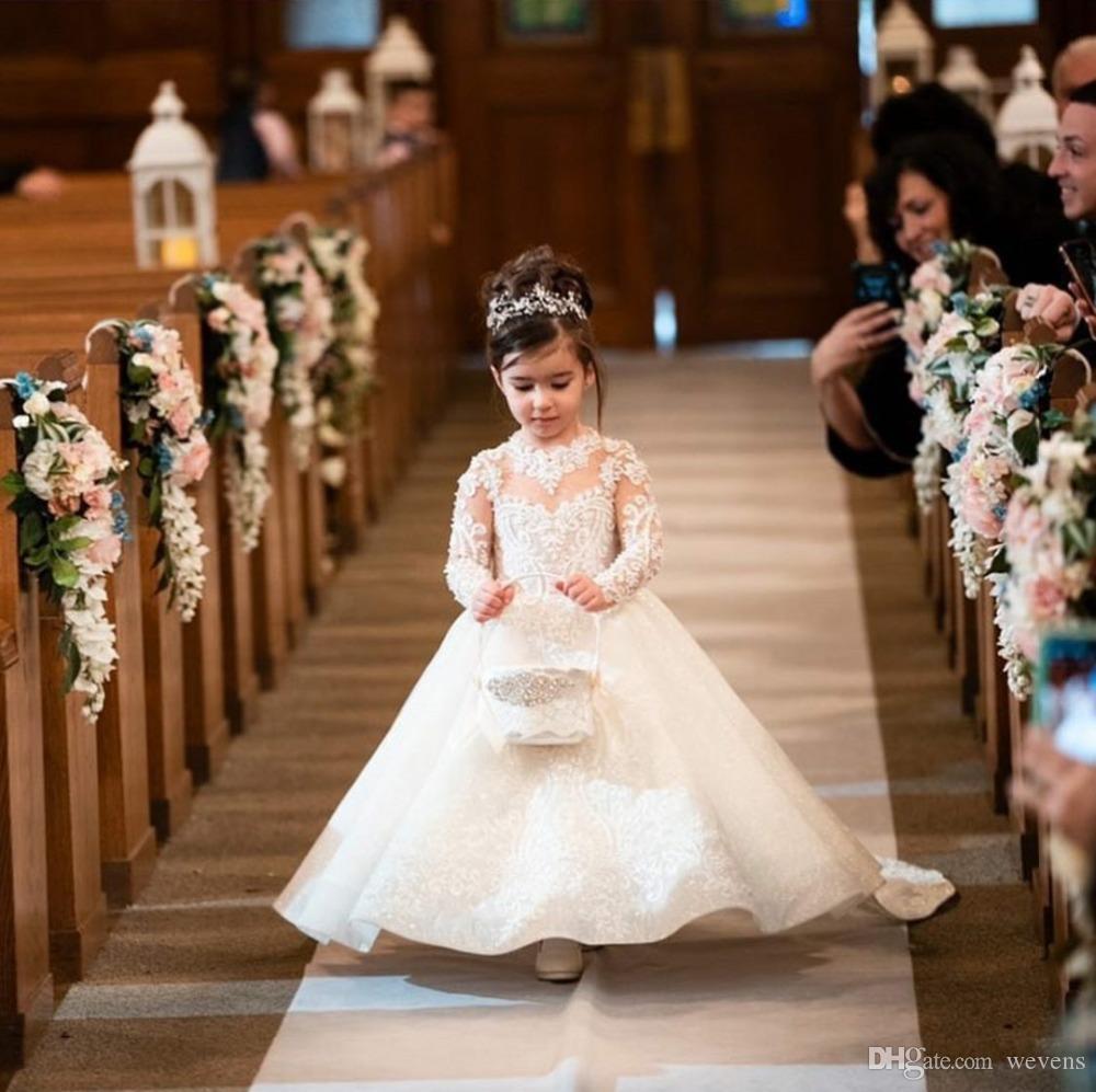 Hermoso cuello joya de manga larga Vestidos para niñas de flores Apliques Pajarita con cuentas Vestido de primera comunión con lentejuelas Vestido de bautizo para niños pequeños