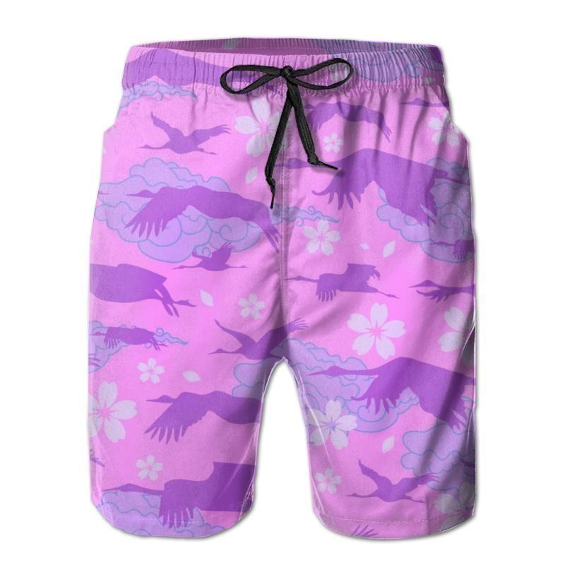 Mens Swimming Shorts Swimwear Flying Japanese Cranes On Asiatic Sakura Silhouette Men Trunks Swimsuit Man Beach Wear Short