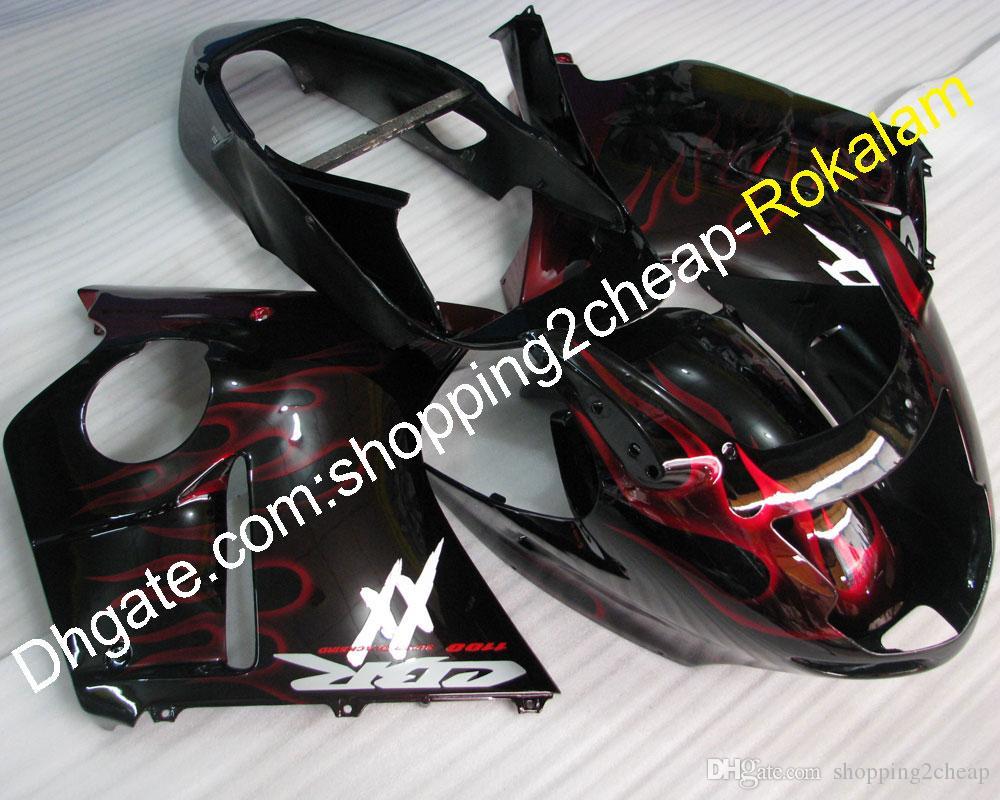 Мотоциклетный каслы для Honda 1996-2007 Объекты Blackbird CBR1100XX 96-07 CBR 1100 XX Красный пламенный Объемный комплект Body Flame (Литье под давлением)