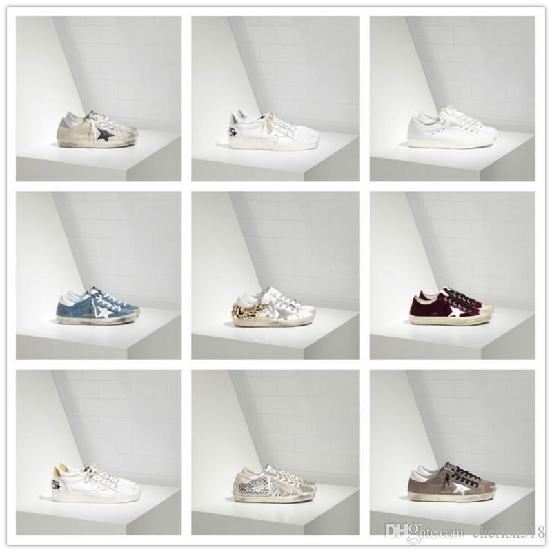 Alta calidad viejo estilo zapatillas de deporte de cuero genuino de las vellosidades Dermis Calzado casual para hombre y mujeres de lujo Superstar Trainer 35-45 C06