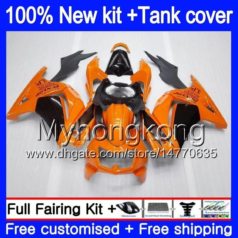 +Tank For KAWASAKI ZX-250R EX-250 ZX250R 08 09 10 11 12 201MY.33 EX250 ZX 250R EX 250 EX250R 2008 2009 2010 2011 2012 Fairings Orange black