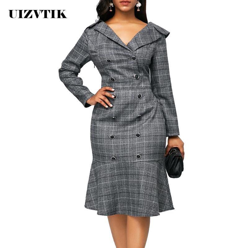 Más el tamaño de la tela escocesa de Oficina ajustado de las mujeres del vestido 2020 elegante de manga larga vestido ocasional otoño breasted doble delgado Volantes Vestidos 5XL