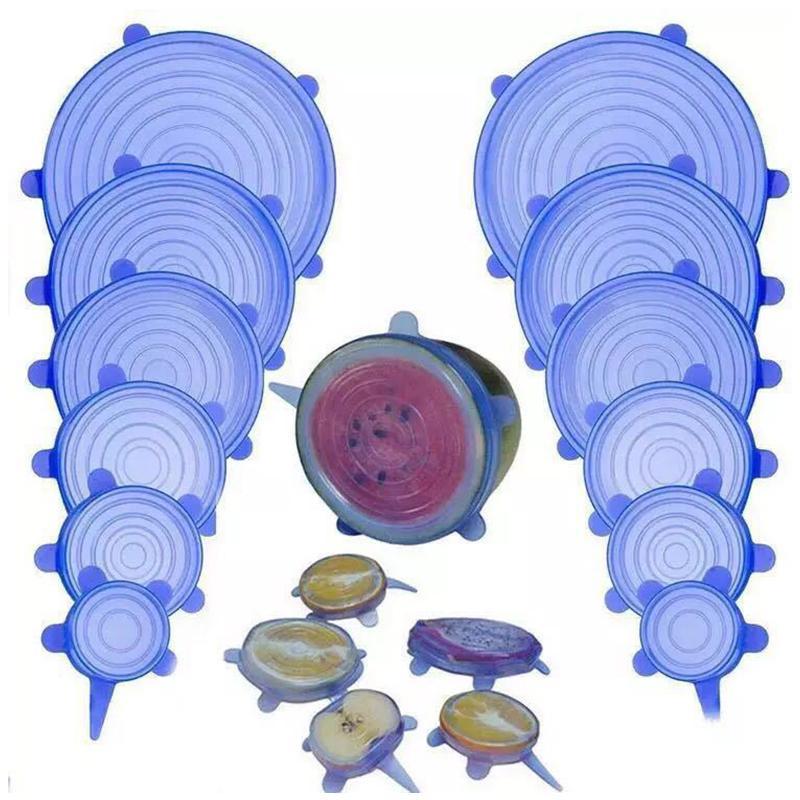 6шт / набор продуктов питания Свежее Сохраняя силикона LIDS Прочные многоразовые Продукты Сохранить крышки жаростойкие Подходит для всех размеров и формы контейнера