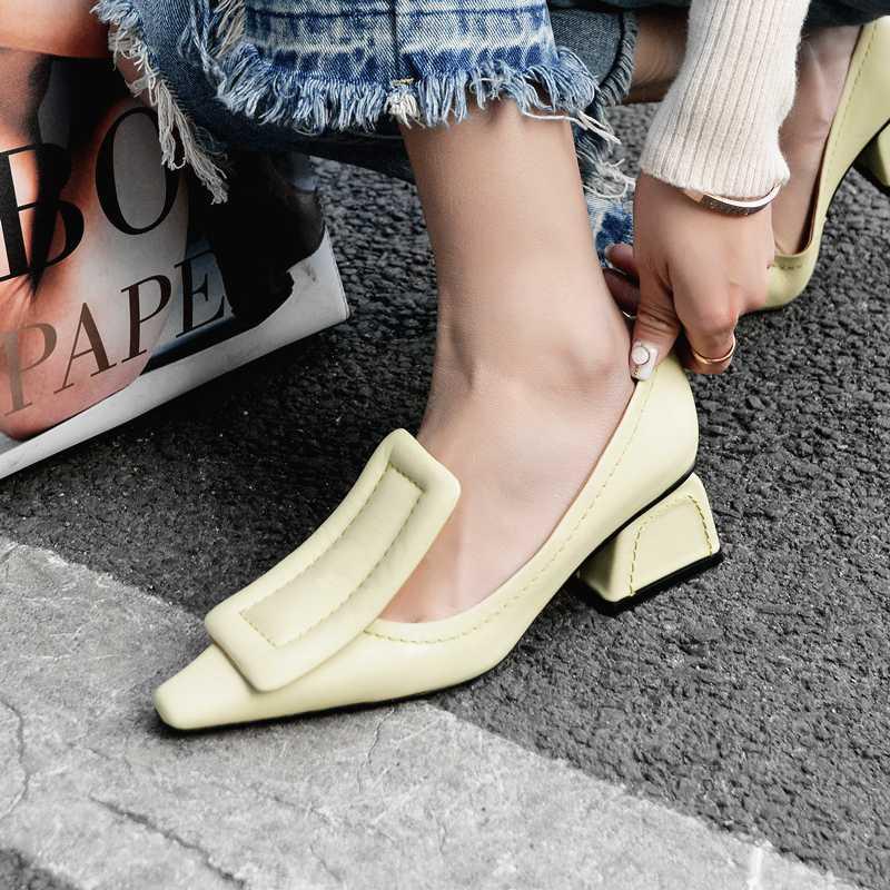 couro genuíno grande fivela bombas deslizamento-om das mulheres 5cm med sapatos de salto confortável de quatro temporadas de lazer de salto alto