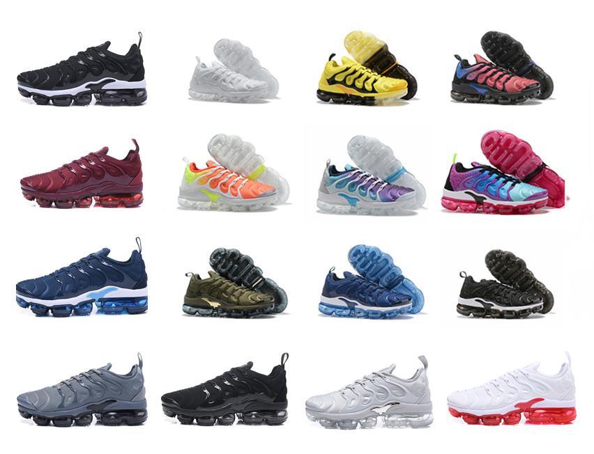 2.019 tn Plus Blanco metálico triple de plata Negro Hombres de los zapatos corrientes con los zapatos de la caja Tn Plus Trainer zapatilla de deporte de envío