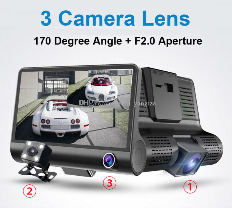"3 cameras car DVR auto driving dashcam vehicle video recorder 4"" display FHD 1080P front 170° rear 140° interior 120° night vision G-sensor"