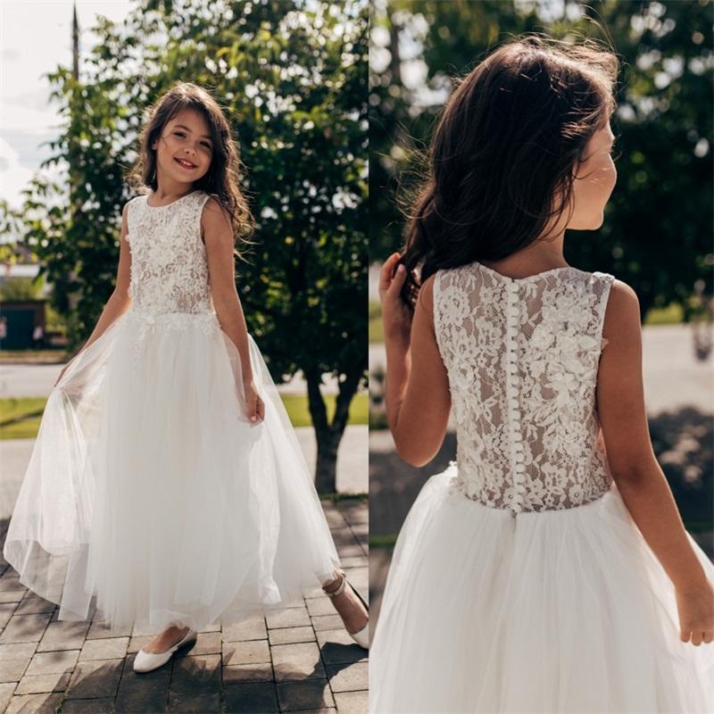 2020 Encaje Una Flor chica línea vestidos de cuello de la joya botones Atrás Primera Comunión de los niños vestido de la altura del tobillo del bebé que la fiesta del desfile de los vestidos AL6061