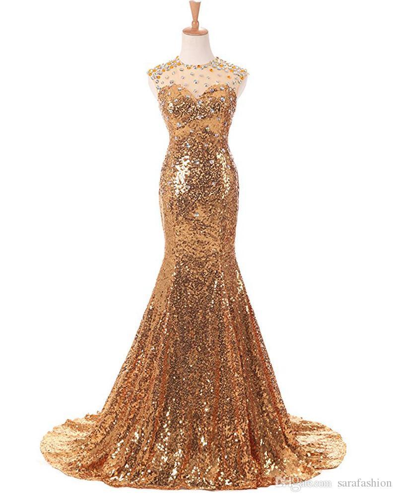 Beading Sequins Mermaid Evening Dresses 2019 Jewel Neck Long Formal Dress Bling Party Dress Sweep Train