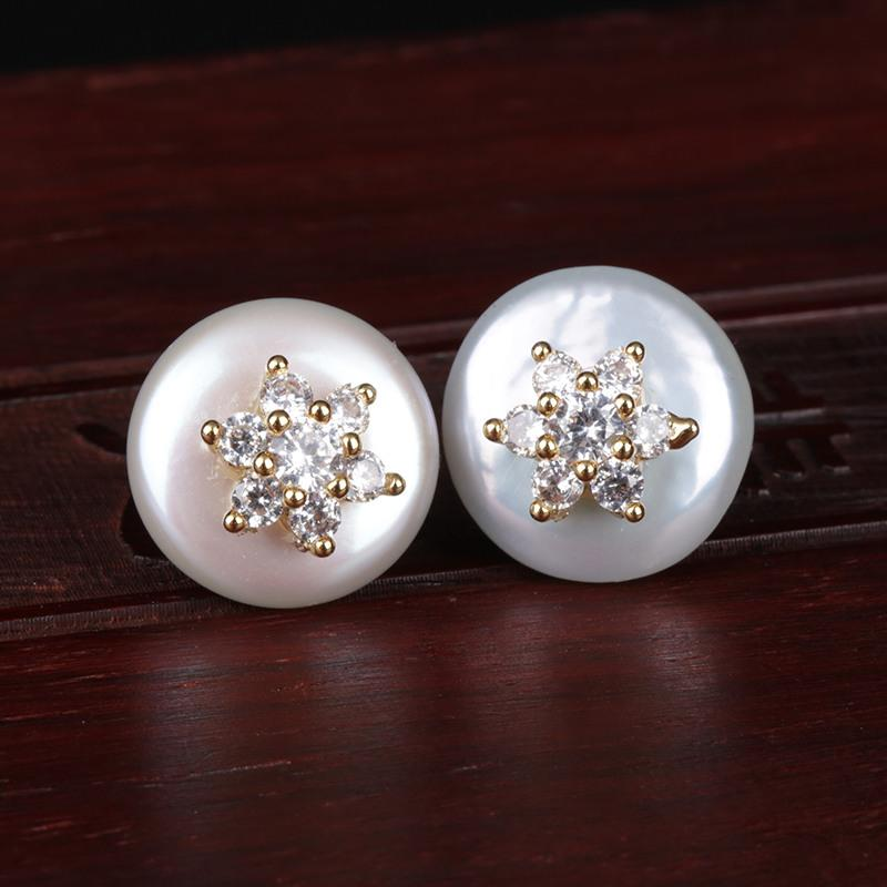 white cz micro pave tiny gold star snowflake natural coin freshwater pearl bead charm elegant button stud earring for women