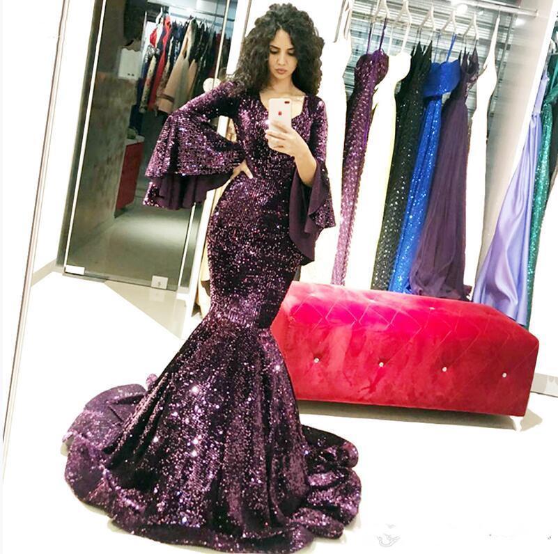 Uva púrpura brillante de las lentejuelas con cuello en V a largo vestidos de baile del traje de soirée elegante desgaste de la tarde Vestidos 2020 Arabia Saudita Partido Vestidos nuevo diseñador