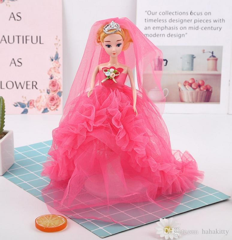 HYS297 24pcs 36cm regali creativi del fumetto offuscata abito da sposa bambola portachiavi appeso portachiavi giocattoli 5 colori dhl