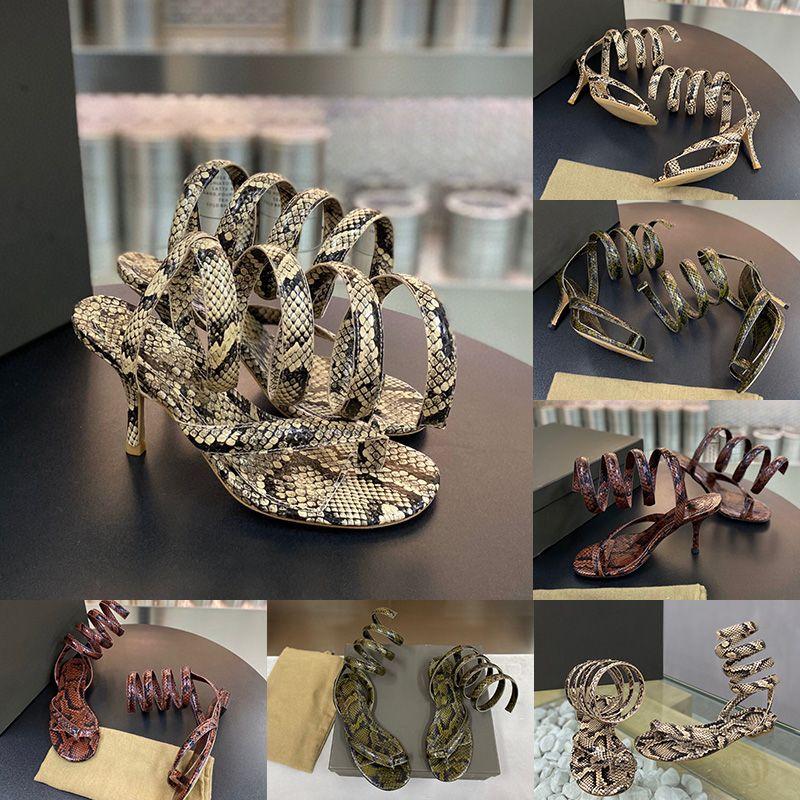 Womens Designer Sandalen GEWUNDENE Luxus High heels Spiral Knöchelriemen Python Druck Kalbsleder Lederschuhe Top-Qualität mit Kasten Größe 35-40