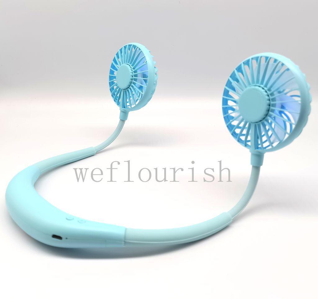 Mini Taşınabilir Açık Mavi LED Boyun fan Şarj toptan Eller serbest Asma USB